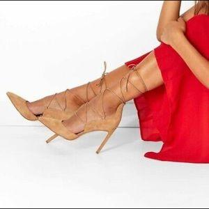 Sam Edelman camel suede lace heels